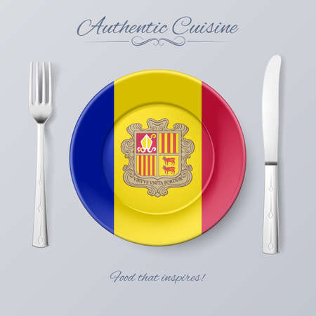 authentic: Authentic Cuisine of Andorra. Plate with Andorran Flag and Cutlery