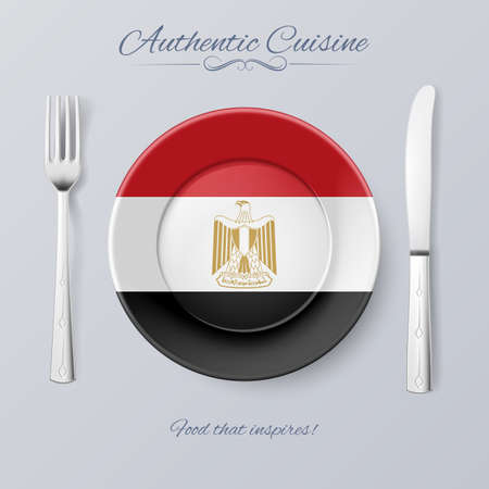 authentic: Authentic Cuisine of Egypt. Plate with Egyptian Flag and Cutlery Illustration