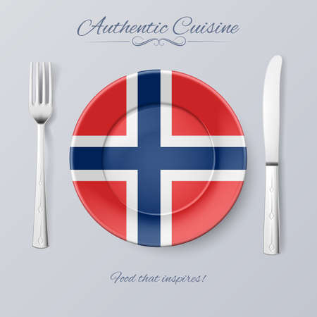 norwegian flag: Authentic Cuisine of Norway. Plate with Norwegian Flag and Cutlery