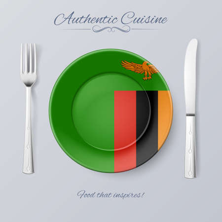 zambian: Authentic Cuisine of Zambia. Plate with Zambian Flag and Cutlery