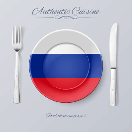 russian cuisine: Authentic Cuisine of Russian Federation. Plate with Russian Flag and Cutlery Illustration