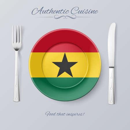 Authentic Cuisine of Ghana. Plate with Ghanaian Flag and Cutlery 일러스트