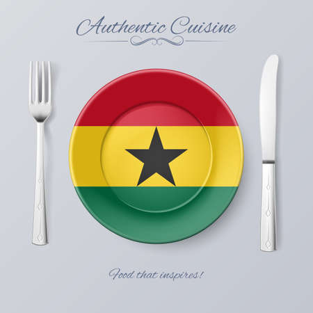 Authentic Cuisine of Ghana. Plate with Ghanaian Flag and Cutlery Illustration