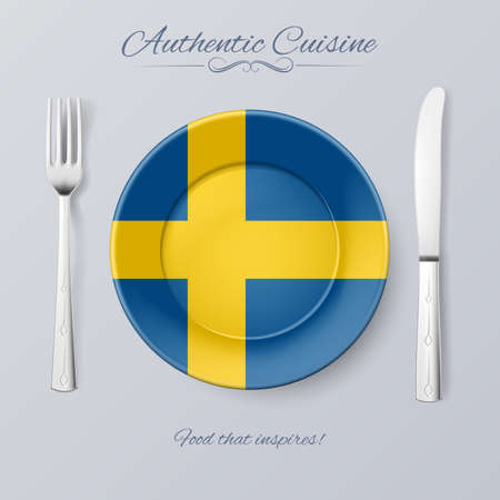 authentic: Authentic Cuisine of Sweden. Plate with Swedish Flag and Cutlery
