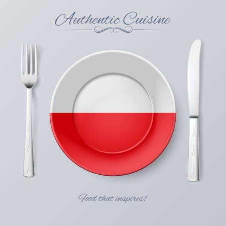 bandera de polonia: Aut�ntica cocina de Polonia. Placa con la bandera polaca y Cubiertos Vectores