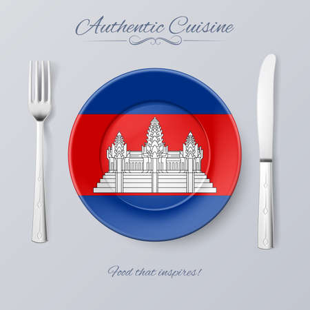 cambodian flag: Authentic Cuisine of Cambodia. Plate with Cambodian Flag and Cutlery