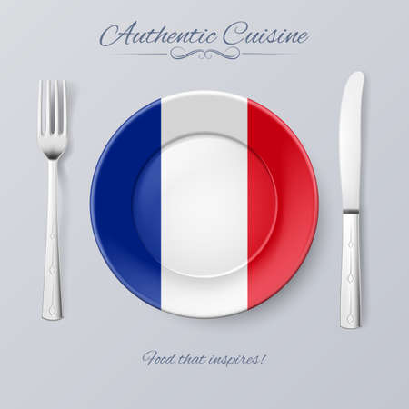 authentic: Authentic Cuisine of France. Plate with French Flag and Cutlery
