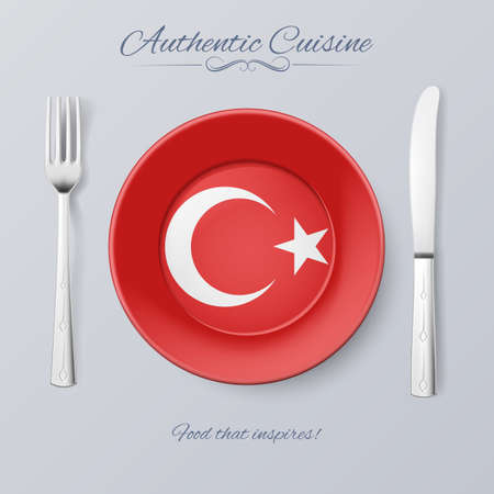 turkish flag: Authentic Cuisine of Turkey. Plate with Turkish Flag and Cutlery Illustration