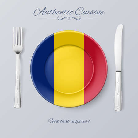 romanian: Authentic Cuisine of Romania. Plate with Romanian Flag and Cutlery