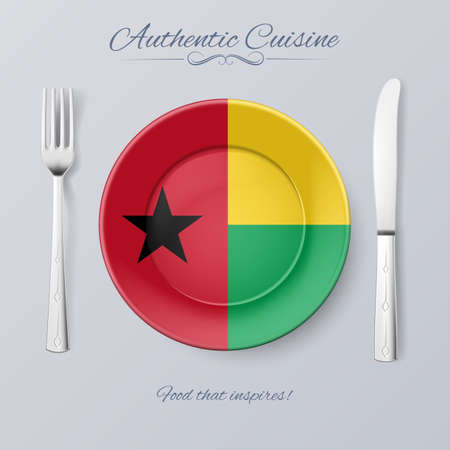 authentic: Authentic Cuisine of Guinea-Bissau. Plate with Flag and Cutlery