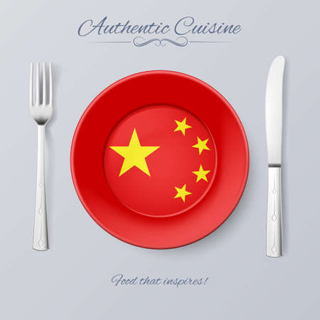 authentic: Authentic Cuisine of China. Plate with Chinese Flag and Cutlery Illustration