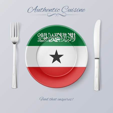 somaliland: Authentic Cuisine of Somaliland. Plate with Flag and Cutlery Illustration