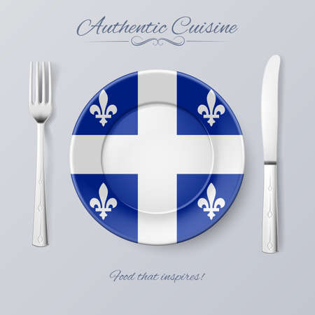 quebec: Authentic Cuisine of Quebec. Plate with Flag and Cutlery