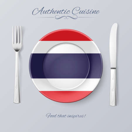 thai culture: Authentic Cuisine of Thailand. Plate with Thail Flag and Cutlery Illustration