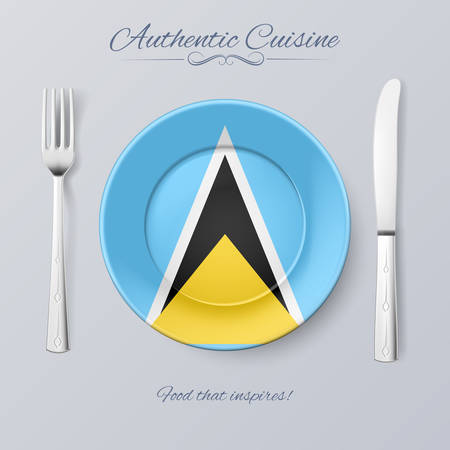 an island tradition: Authentic Cuisine of Saint Lucia. Plate with Flag and Cutlery