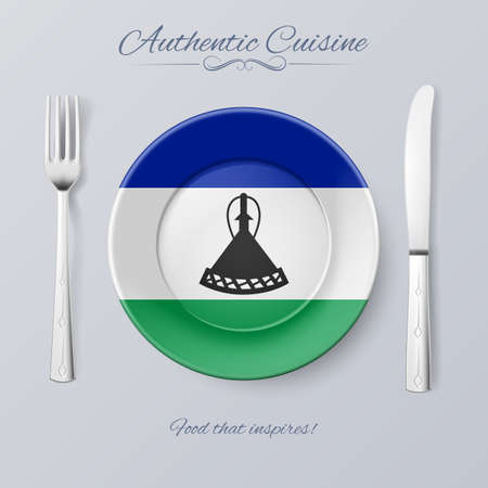 authentic: Authentic Cuisine of Lesotho. Plate with Flag and Cutlery Illustration