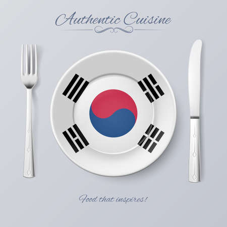 food concept: Authentic Cuisine of South Korea. Plate with South Korean Flag and Cutlery Illustration