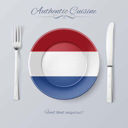 dutch flag: Authentic Cuisine of Netherlands. Plate with Dutch Flag and Cutlery