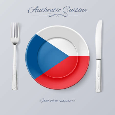 czech flag: Authentic Cuisine of Czech Republic. Plate with Czech Flag and Cutlery