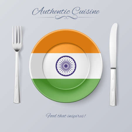 india food: Authentic Cuisine of India. Plate with Indian Flag and Cutlery Illustration