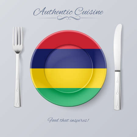 mauritius: Authentic Cuisine of Mauritius. Plate with Mauritian Flag and Cutlery
