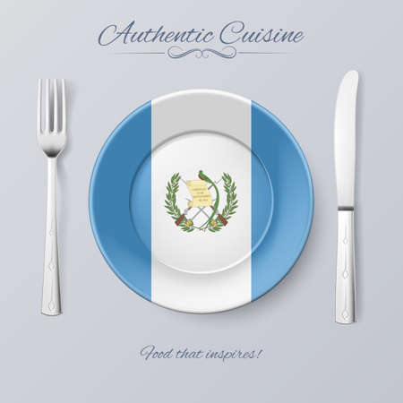 guatemalan: Authentic Cuisine of Guatemala. Plate with Guatemalan Flag and Cutlery Illustration