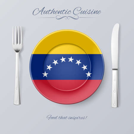authentic: Authentic Cuisine of Venezuela. Plate with Venezuelan Flag and Cutlery