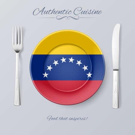 venezuelan: Authentic Cuisine of Venezuela. Plate with Venezuelan Flag and Cutlery