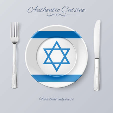 authentic: Authentic Cuisine of Israel. Plate with Israeli Flag and Cutlery
