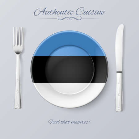 estonian: Authentic Cuisine of Estonia. Plate with Estonian Flag and Cutlery