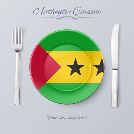 Authentic Cuisine of Sao Tome and Principe. Plate with Flag and Cutlery