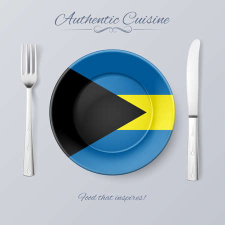 an island tradition: Authentic Cuisine of the Bahamas. Plate with Bahamian Flag and Cutlery Illustration