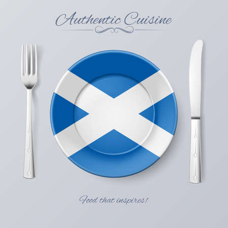 authentic: Authentic Cuisine of Scotland. Plate with Scottish Flag and Cutlery Illustration