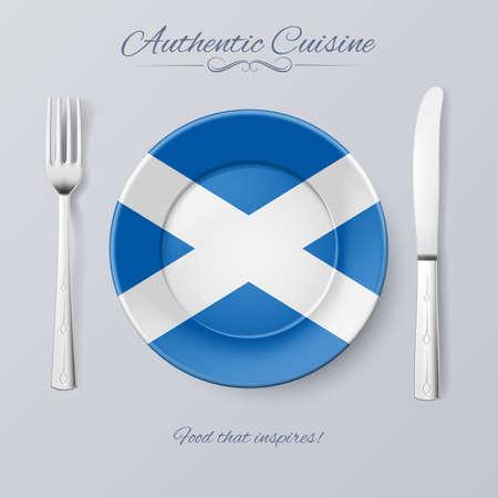 scottish flag: Cucina autentica della Scozia. Piastra con bandiera scozzese e posate Vettoriali