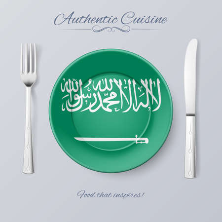 authentic: Authentic Cuisine of Saudi Arabia. Plate with Flag and Cutlery Illustration