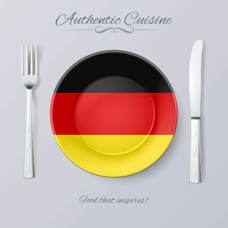 german tradition: Authentic Cuisine of Germany. Plate with German Flag and Cutlery