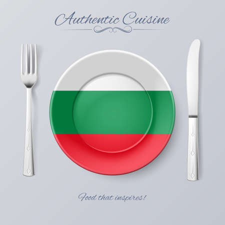 bulgarian: Authentic Cuisine of Bulgaria. Plate with Bulgarian Flag and Cutlery