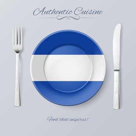 el salvador: Authentic Cuisine of El Salvador. Plate with Salvadoran Flag and Cutlery Illustration