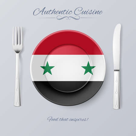 syrian: Authentic Cuisine of Syria. Plate with Syrian Flag and Cutlery