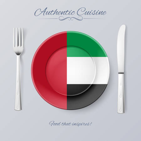 united arab emirate: Authentic Cuisine of United Arab Emirates. Plate with Flag and Cutlery