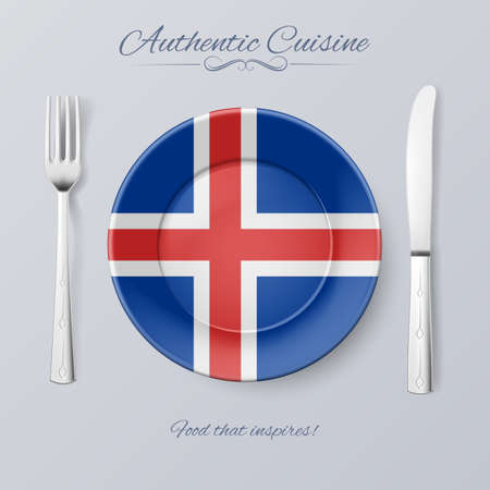 icelandic flag: Authentic Cuisine of Iceland. Plate with Icelandic Flag and Cutlery