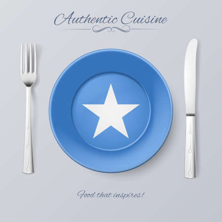 somalian flag: Authentic Cuisine of Somalia. Plate with Somalian Flag and Cutlery Illustration