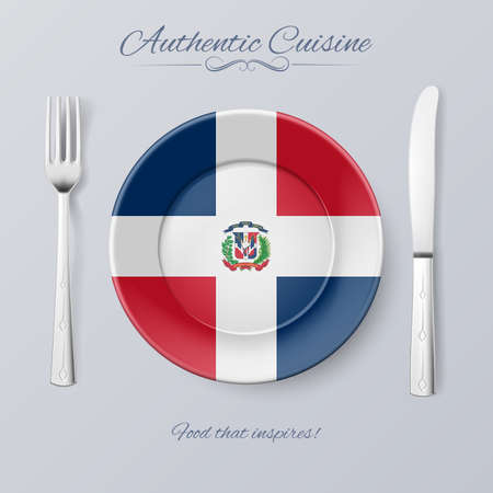 republic: Authentic Cuisine of Dominican Republic. Plate with Flag and Cutlery