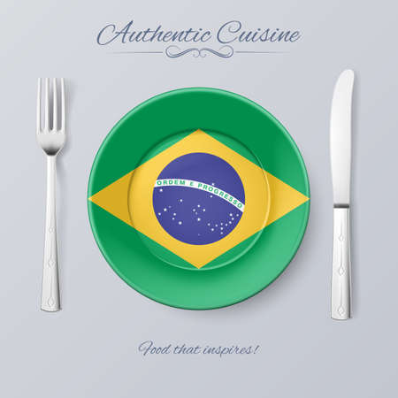 Authentic Cuisine of Brazil. Plate with Brazilian Flag and Cutlery