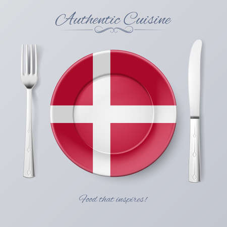 danish flag: Authentic Cuisine of Denmark. Plate with Danish Flag and Cutlery