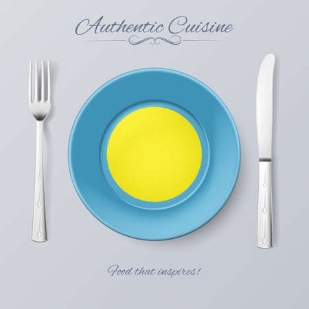 authentic: Authentic Cuisine of Palau. Plate with Palauan Flag and Cutlery