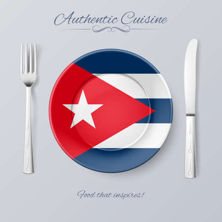 cuban flag: Authentic Cuisine of Cuba. Plate with Cuban Flag and Cutlery Illustration