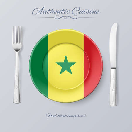 senegalese: Authentic Cuisine of Senegal. Plate with Senegalese Flag and Cutlery Illustration