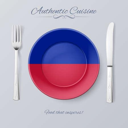 haitian: Authentic Cuisine of Haiti. Plate with Haitian Flag and Cutlery
