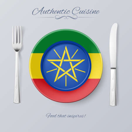 authentic: Authentic Cuisine of Ethiopia. Plate with Ethiopian Flag and Cutlery Illustration